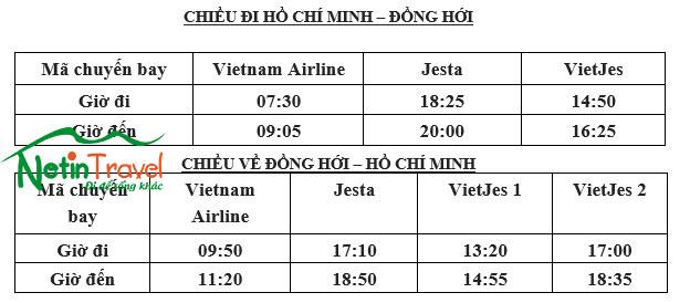 Chuyến bay Đồng Hới - Hồ Chí Minh - Đồng Hới