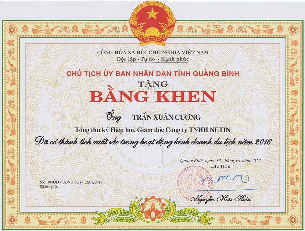 Bằng khen của UBND tỉnh Quảng Bình