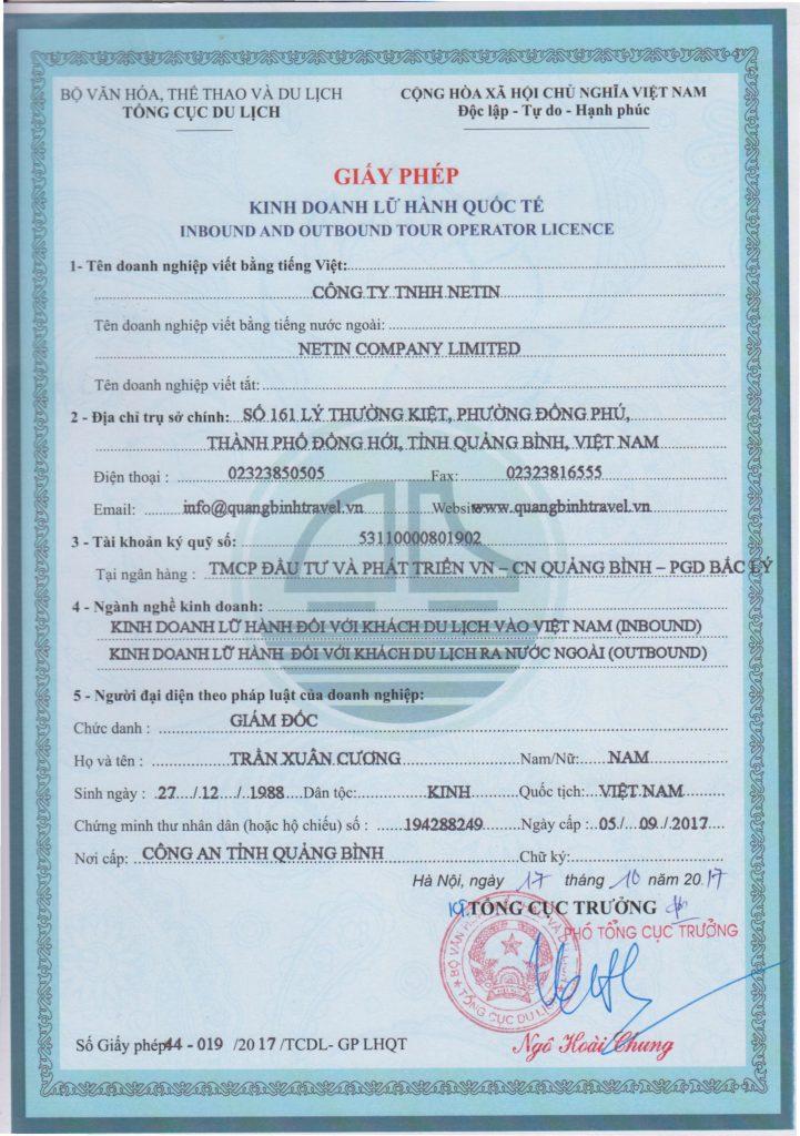 Giấy phép lữ hành Quốc tế Netin Travel