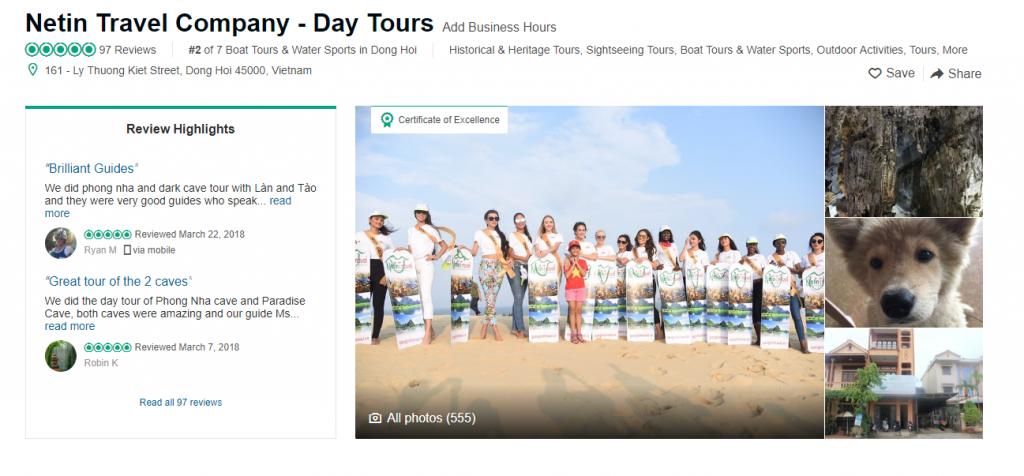 Netin Travel được khách hàng đánh giá cao