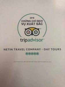 Netin Travel đón nhận chứng chỉ dịch vụ xuất sắc 2018